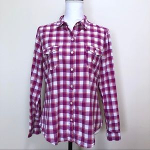 Old Navy Plaid Button Down Shirt Purple & Pink